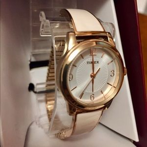 NWT Timex Ladies' Stretch Bangle Watch - Pink/Gold